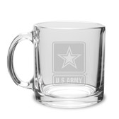 US Army 13oz Deep Etched Glass Coffee Mug