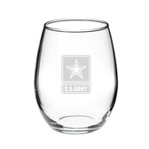 US Army Deep Etched 15 oz. Stemless Red Wine Glass