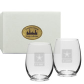 US Army Deep Etched Stemless Wine Glass Set of 2