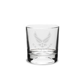 US Air Force Deep Etched 10.5 oz Football  Double Old Fashion Glass