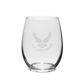 US Air Force Deep Etched 11.5 oz Stemless White Wine Glass