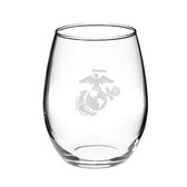 US Marines 15 oz Deep Etched Stemless Red Wine Glass