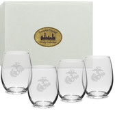 US Marines Deep Etched Stemless Wine Glass Set of 4