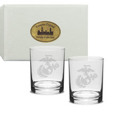 US Marines Deep Etched Double Old Fashion Glass Set of 2