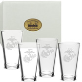 US Marines Deep Etched Classic Pub Glass Set of 4