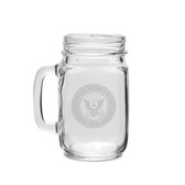 US Navy Deep Etched 16 oz Old Fashion Drinking Jar with Handle