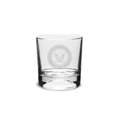 US Navy Deep Etched 10.5 oz Football Double Old Fashion Glass