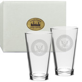 US Navy Deep Etched Classic Pub Glass Set of 2