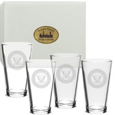 US Navy Deep Etched Classic Pub Glass Set of 4