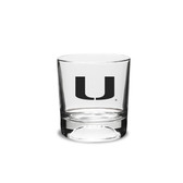 Miami Hurricanes 10.5 oz. Football Deep Etched Double Old Fashion Glass