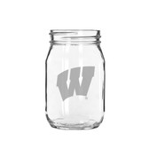 Wisconsin Badgers 16 oz. Deep Etched Old Fashion Drinking Jar