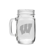 Wisconsin Badgers 16 oz. Deep Etched Old Fashion Drinking Jar with Handle