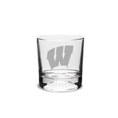 Wisconsin Badgers 10.5 Oz Football Deep Etched Double Old Fashion Glass
