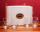 Columbia University Deep Etched Stemless Wine Glass Set of 4