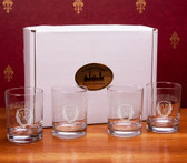 Columbia University Deep Etched Double Old Fashion Glass Set of 4
