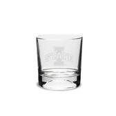 Iowa State Cyclones 10.5 oz. Deep Etched Football Deep Etched Double Old Fashion Glass