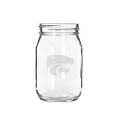 Kansas State Wildcats 16 oz. Deep Etched Old Fashion Drinking Jar