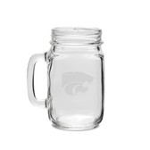 Kansas State Wildcats 16 oz. Deep Etched Old Fashion Drinking Jar with Handle