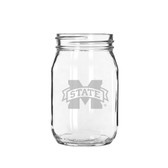 Mississippi State Bulldogs 16 oz. Deep Etched Old Fashion Drinking Jar