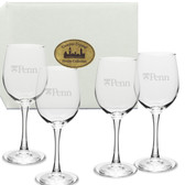 Penn Quakers Deep Etched White Wine Glass Set of 4