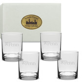 Penn Quakers Deep Etched Double Old Fashion Glass Set of 4