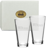 Penn Quakers Deep Etched Classic Pub Glass Set of 2