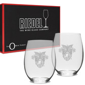 West Point Deep Etched Riedel Set of 2 Deep Etched Stemless Wine Glasses