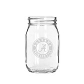 Alabama Crimson Tide 16 oz. Deep Etched Old Fashion Drinking Jar