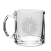 Cal State Fullerton 13 oz. Deep Etched Clear Glass Coffee Mug