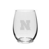 Nebraska Cornhuskers 11.5 oz. Deep Etched Stemless Deep Etched White WINE GLASS