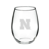 Nebraska Cornhuskers 15.0 oz. Deep Etched Stemless Deep Etched Red Wine Glass