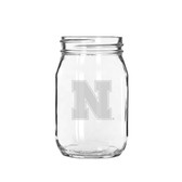 Nebraska Cornhuskers 16 oz. Deep Etched Old Fashion Drinking Jar
