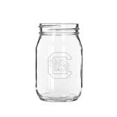 South Carolina Gamecocks 16 oz. Deep Etched Old Fashion Drinking Jar