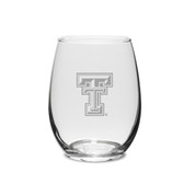 Texas Tech Red Raiders 11.5 oz Deep Etched Stemless Deep Etched White WINE GLASS