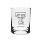 Texas Tech Red Raiders 14 oz Deep Etched Double Old Fashion Glass