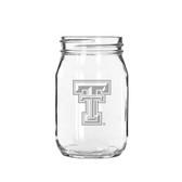 Texas Tech Red Raiders 16 oz Deep Etched Old Fashion Drinking Jar