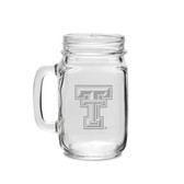 Texas Tech Red Raiders 16 oz Deep Etched Old Fashion Drinking Jar with Handle