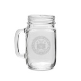 Coast Guard Academy 16 oz Deep Etched Old Fashion Drinking Jar with Handle