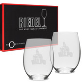 Valparaiso Crusaders Riedel -21 oz Deep Etched Stemless WINE GLASS - 2 PACK