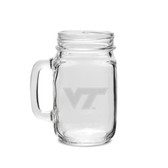 Virginia Tech Hokies 16 oz Deep Etched Old Fashion Drinking Jar with Handle