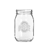 Ohio State Buckeyes 16 oz. Deep Etched Old Fashion Drinking Jar