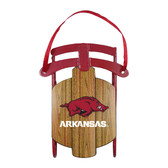 Arkansas Razorbacks Metal Sled Ornament