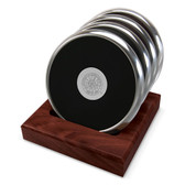 Nebraska Cornhuskers Silver Tone Coaster Set of 4