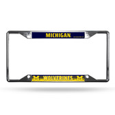 Michigan Wolverines License Plate Frame Chrome EZ View