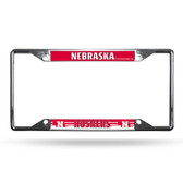 Nebraska Cornhuskers License Plate Frame Chrome EZ View