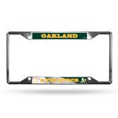 Oakland Athletics License Plate Frame Chrome EZ View