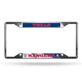 Texas Rangers License Plate Frame Chrome EZ View