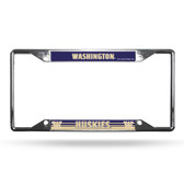 Washington Huskies License Plate Frame Chrome EZ View