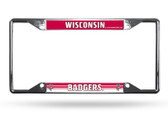 Wisconsin Badgers License Plate Frame Chrome EZ View