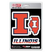 Illinois Fighting Illini Decal Die Cut Team 3 Pack